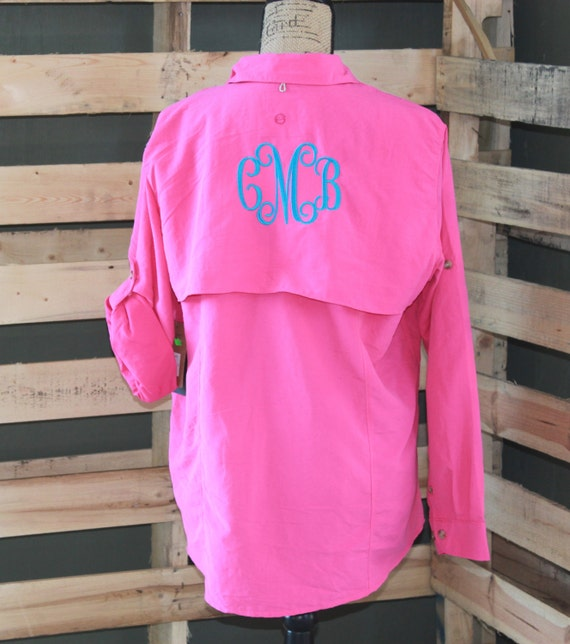 Women 39 s monogram personalized fishing shirt by for Monogram fishing shirt