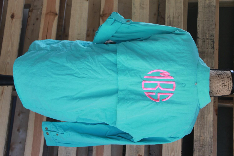 Monogrammed fishing shirt monogram personalized fishing for Custom embroidered columbia fishing shirts