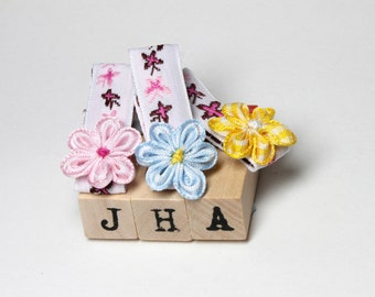 Children hair clip bundle - mixed flowers on butterfly clips