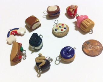 Assorted Charm (10 Pieces), Polymer clay food charms, polymer clay charms, rainbow charms, book charms, mini food, craft supplies, kawaii