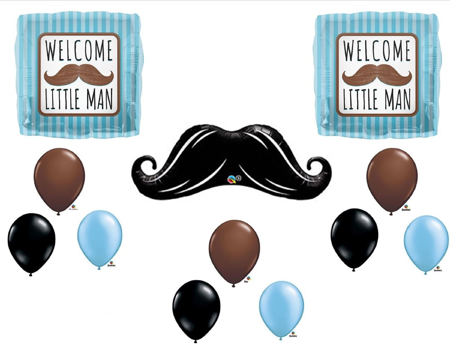 Welcome little man mustache baby shower balloons by