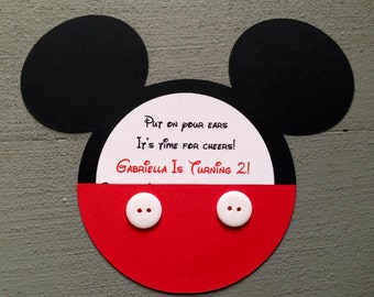 Custom Handmade Mickey Mouse invitations with real buttons