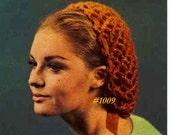 Almost FREE Vintage 1960 Quick Fishnet Raffia & Mohair Snood 1009 PDF Digital Crochet Pattern