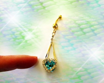 Belly Ring, Long Gold Dangling Ocean Aqua Sea Blue Crystal Heart, Fancy Belly Button Ring, Belly Button Jewelry, women or Teens