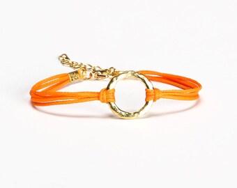 Karma bracelet, orange cord bracelet with a gold circle charm, mother's day gift for her, friendship bracelet, minimalist spiritual jewelry