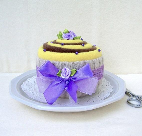Cupcake PINCUSHION. Felted wool. Chocolate and Lemon. Looks good enough to eat!