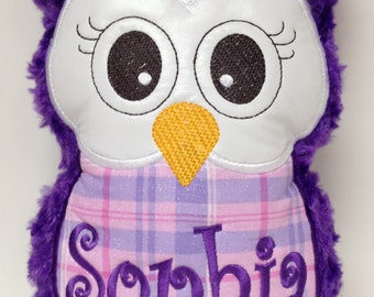 Purple and Pink Plaid, Plush Owl Reading Buddy Pillow, Soft Toy