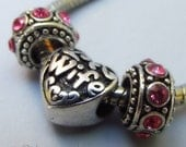 Wife Heart European Charm And Birthstone Spacer Beads For All Big Hole Bracelet And Necklace Chains