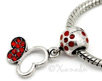 Red Butterfly European Bead - Rhinestone And Enamel Bead Fits All European Charm Bracelets
