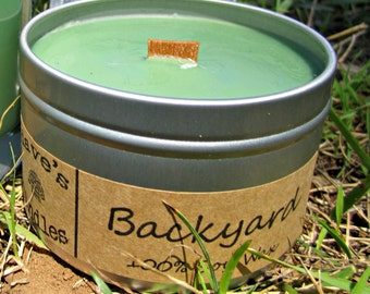 Backyard. 8oz Soy Candle Tin with Wood Wick