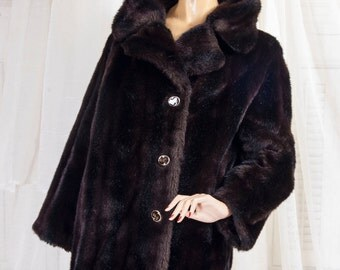 1960s Lyka fur Priscilla Modes, Furrier made faux sable coat, made in London