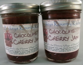 Two Jars Chocolate Cherry jam homemade by Beckeys Kountry Kitchen jelly fruit spreads preserves