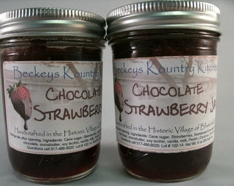 Two Jars Chocolate Strawberry Jam by Beckeys Kountry Kitchen jelly fruit spread preserves