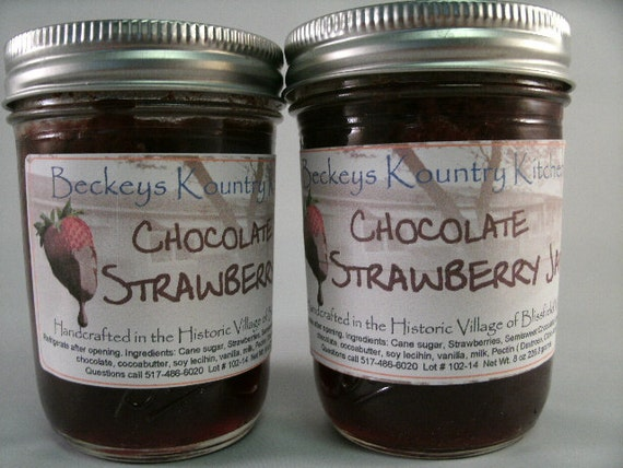 Two Jars Chocolate Strawberry Jam Homemade jam jelly fruit spread handmade fruit preserves
