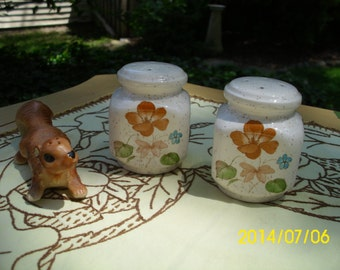 Vintage Treasure Craft-Floral Salt & Pepper Shakers-Orange/Pink/Blue Flowers-Stoneware