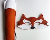 RESERVED for VERONICA ** CHILD Rust Fox Mask and Tail set Halloween costume Photography prop