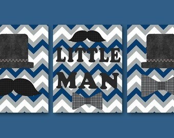 Kids Wall Art Little Man Nursery Baby Nursery Decor Baby Boy Nursery Kids Art Baby Room Decor Nursery Print Boy Art set of 3 Blue Gray