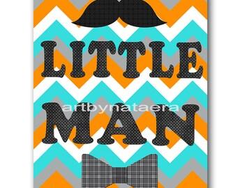 Little man Kids Art Kids Wall Art Baby Boy Nursery art print Children Wall Art Baby Room Decor Nursery Decor Boy Baby Wall Art orange