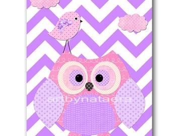 Owl Decor Owl Nursery Kids Wall Art Baby Girl Nursery Art Print Nursery Wall Art Kids Room Decor Kids Art Girl Print Bird Pink Purple