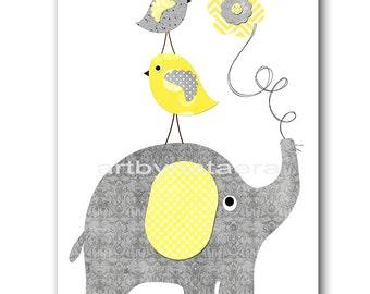 Elephant Nursery Kids Wall Art Baby Boy Nursery Decor Baby Nursery Print Children Art Print Nursery Print Boy Art Yellow Gray Baby Art