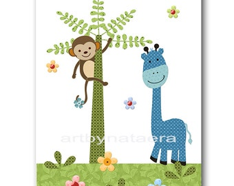 Kids wall art Kids Art Giraffe Nursery Monkey Nursery Art Decor Baby Boy Nursery Baby Room Decor Nursery Print Boy Print 8x10 blue green