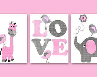 Childrens Art Kids Wall Art Baby Girl Nursery Kids Print Baby Girl Print Nursery Print set of 3 Giraffe Nursery Elephant Nursery Pink