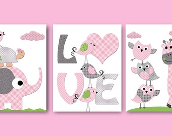 Childrens Art Kids Wall Art Baby Girl Nursery Kids Print Baby Girl Print Nursery Prints Giraffe Nursery Elephant Nursery Rose set of 3