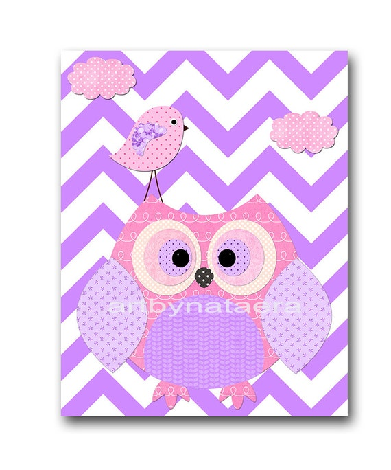 Owl decor owl nursery kids wall art baby girl nursery art - Girl owl decor ...