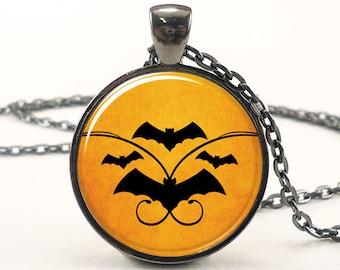 Halloween Necklace, Bat Pendant, Spooky Orange Goth Jewelry (1709G1IN)