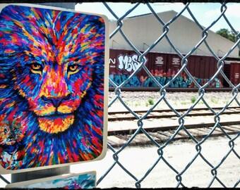 Urban art Lion animal magnet art creative colorful.