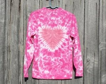 Toddler Heart Tie Dye Shirt , 2T 3T 4T ,  Pink Heart Tie Dye, Valentine's  Day Tie Dye,  Girls Long Sleeve, Pink Heart