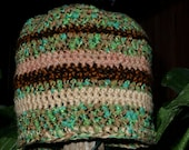 Crochet Beanie Hat, Ribbon Green Beige Brown Contrasts and texture. Sale