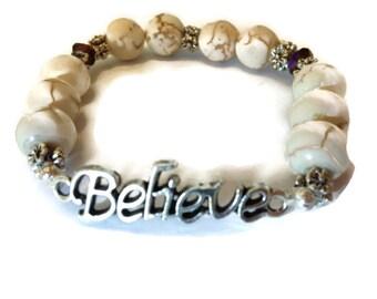 Believe Bracelet, Affirmation Jewelry, Christian Bracelet, Inspiring Jewerly, Word Bracelet