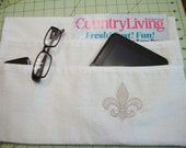 LAVENDER STREET COLLECTION----Linen Cotton Blend Embroidered Light Silver Fleur de Lis
