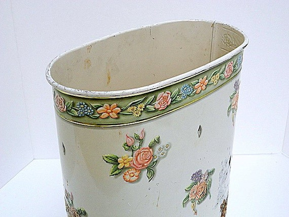 Vintage Metal Wastebasket Floral Shabby chic 1960s Rusty French country Cottage by metrocottage