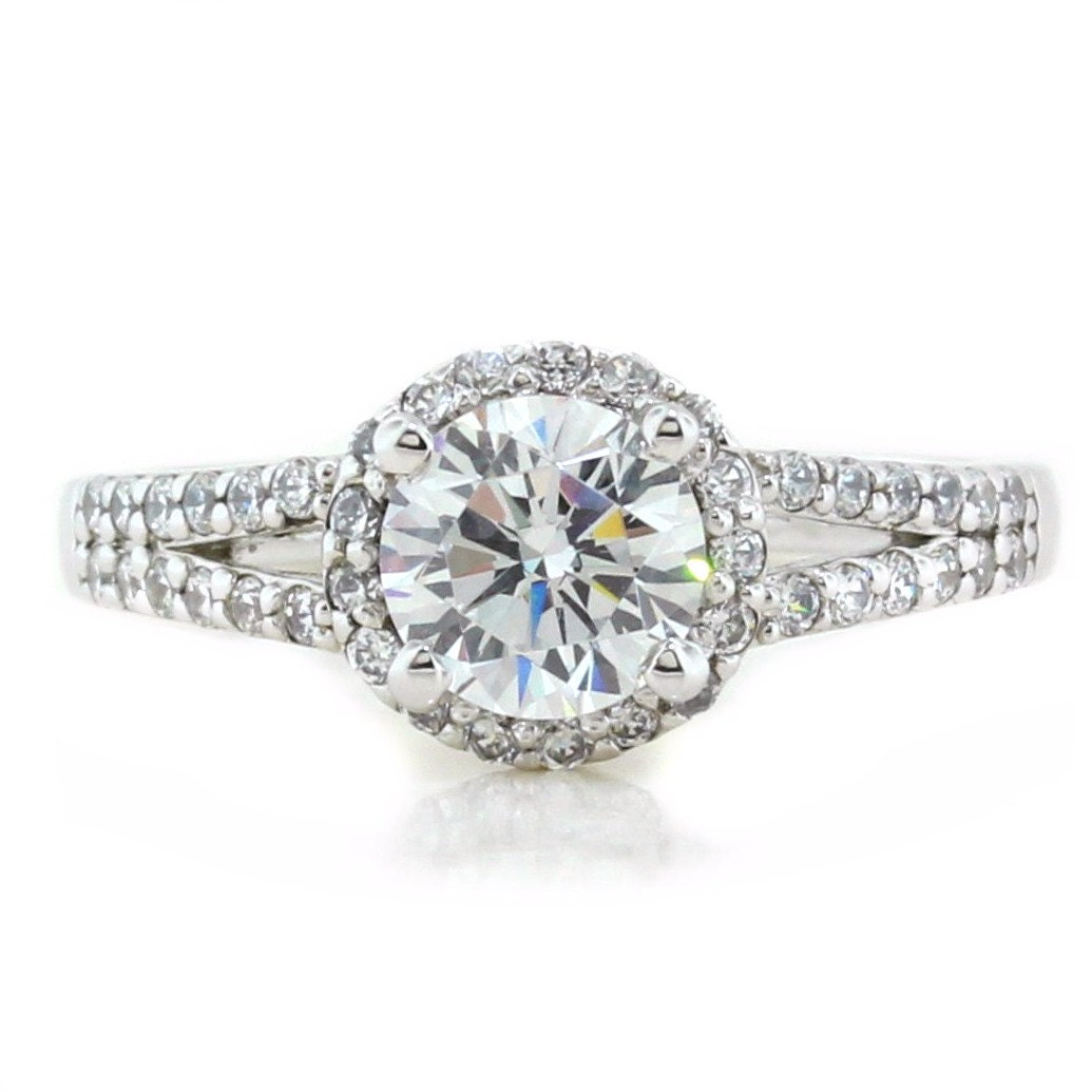vintage style moissanite engagement ring side stones
