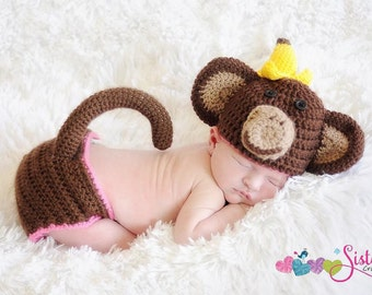 Crochet Baby Monkey Hat & Diaper Cover with Tail Set -  Newborn Photo Prop - Banana - Newborn Monkey Costume - Newborn Halloween Costume