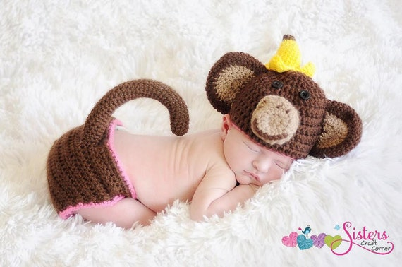 Crochet Baby Monkey Hat & Diaper Cover with Tail Set