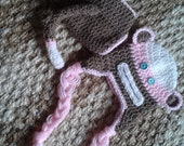 Crochet NEWBORN pink sock monkey outfit photo prop (0-2 months) Hat with ties and diaper cover with tail!