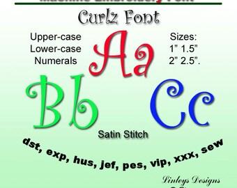 Download Machine Embroidery Alphabet: Curlz  Font.