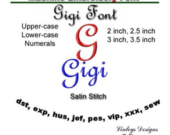 Download Machine Embroidery Alphabet: Gigi Font.
