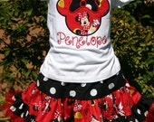 Minnie Mouse DisneyLand or birthday outfit, Personalized Birthday Minnie Red Polka Dots Shirt, outfit Embroidered, Appliqued, Monogrammed