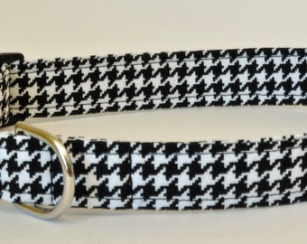 "Houndstooth Dog Collar - Black and White Houndstooth -""Arden""-NO EXTRA CHARGE for colored buckles"