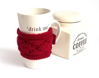 SALE - 50%OFF. Burgundy Coffee Cup Cozy. Knitted Tea Cup Cozy. Knit Mug Cozy.