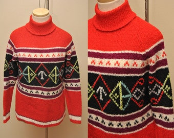 70s Vintage Patterned Wool Turtleneck Sweater Womens Fully Fashioned