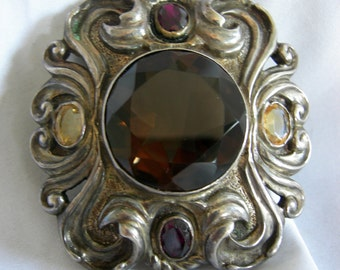 Ornate Victorian Art Nouveau Brooch Pin with Topaz, Champagne and Amethyst Tone Stones | Unsigned | Vintage