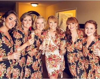 Bridesmaids Robes Set of 6 Kimono Crossover Robe, Perfect bridesmaids gift, Bridesmaids Robe, getting ready robes, Bridal shower favors