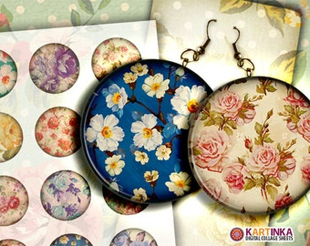 2 inch Printable FLOWERS PATTERNS Collage Sheet Images for Decoupage Round Pendant Pocket Mirrors, Earrings, Paper Weight, print it yourself