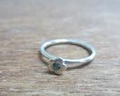 Tiny Flower with Gemstone Stackable Ring Sterling Silver, Garnet/Amethyst/Blue Topaz/Smoky Topaz/White Topaz/Peridot/Citrine, Size 2-15