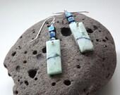 Chrysocolla earrings gemstone earrings bohemian earrings green and blue earrings dangle earrings handmade earrings fine and sterling silver